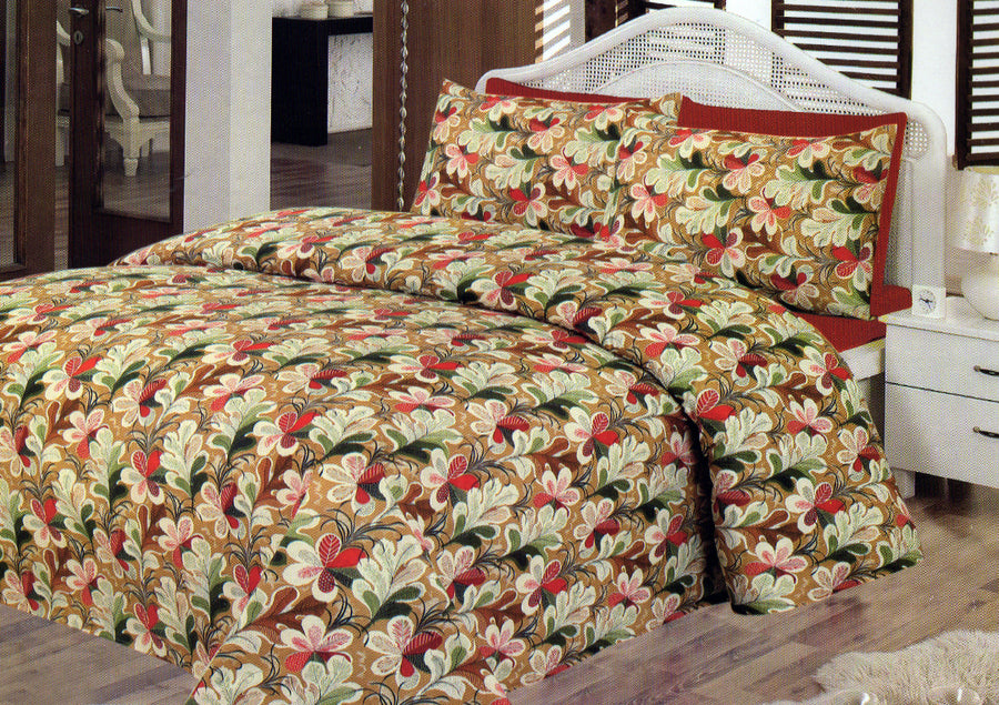 Daffodils Brown Flower Double Bed Sheet Set - Deeds.pk