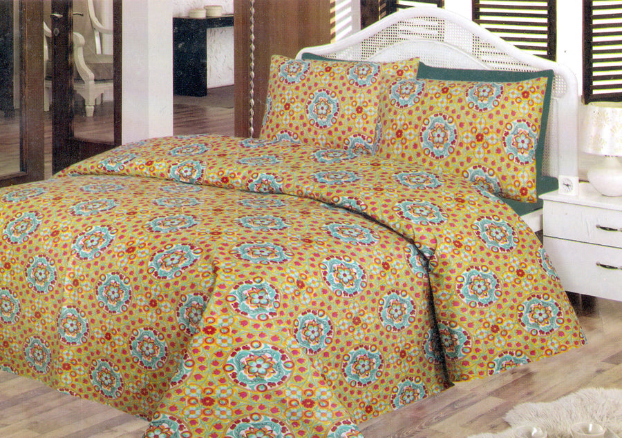 Daffodils Golden Floral Double Bed Sheet Set - Deeds.pk