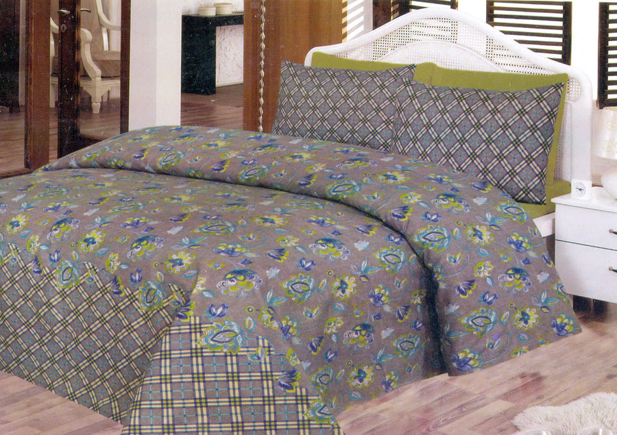Daffodils Green & Blue Pattern Double Bed Sheet Set - Deeds.pk