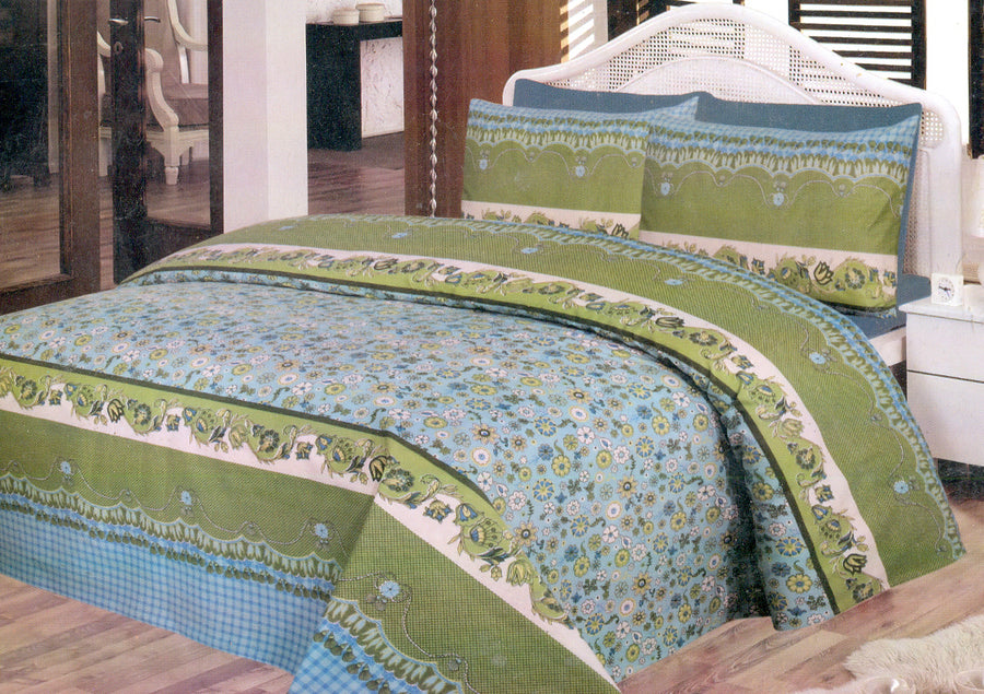 Daffodils Green Pack Of 2 Single Bed Sheets - Deeds.pk
