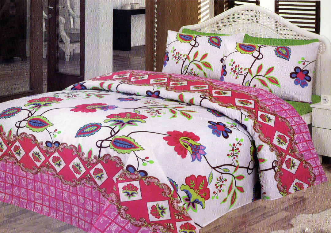 Daffodils Multi Color Abstract Double Bed Sheet Set - Deeds.pk