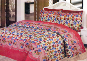 Daffodils Multi Color Flowers Pack Of 2 Single Bed Sheets - Deeds.pk