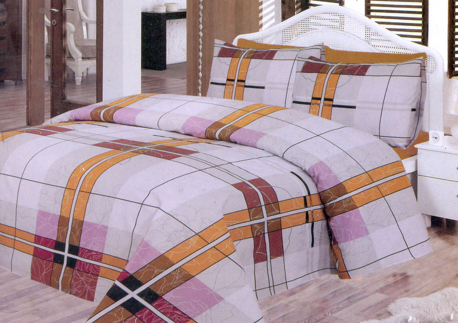 Daffodils Multi Color Square Print Double Bed Sheet Set - Deeds.pk