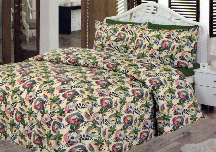 Daffodils Peacock Print Double Bed Sheet Set - Deeds.pk