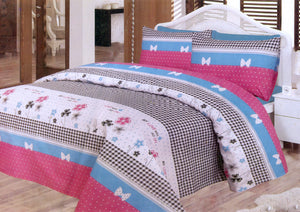 Daffodils Pink Double Bed Sheet Set - Deeds.pk