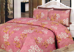 Daffodils Pink Floral Pack Of 2 Single Bed Sheets - Deeds.pk
