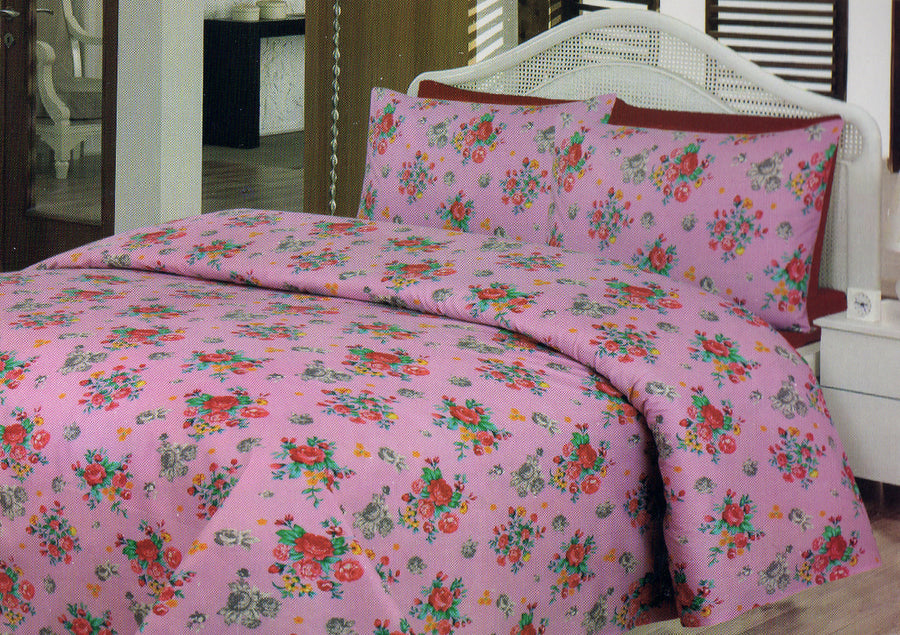 Daffodils Pink Vintage Print Double Bed Sheet Set - Deeds.pk