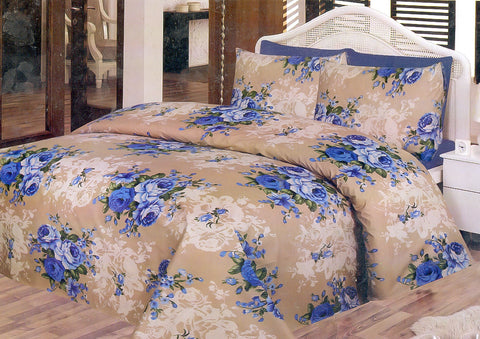 Daffodils Skin & Blue Pack Of 2 Single Bed Sheets - Deeds.pk