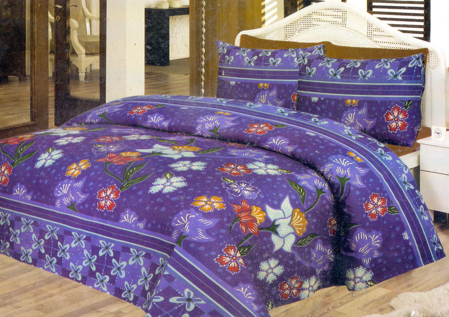 Daffodils Purple Floral Print Pack Of 2 Single Bed Sheets - Deeds.pk