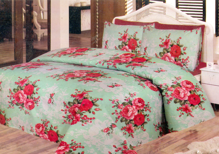 Daffodils Red Vintage Flowers Print Pack Of 2 Single Bed Sheets - Deeds.pk