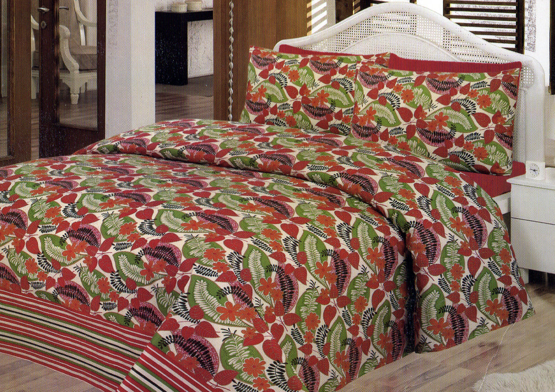 Daffodils Red & Green Leaf Print Double Bed Sheet Set - Deeds.pk