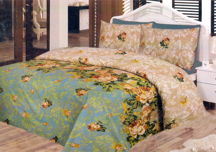 Daffodils Sea Green Vintage Pack Of 2 Single Bed Sheets - Deeds.pk