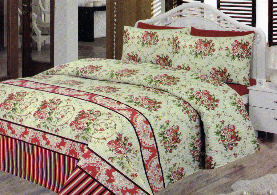Daffodils Vintage Cream Print Double Bed Sheet Set - Deeds.pk