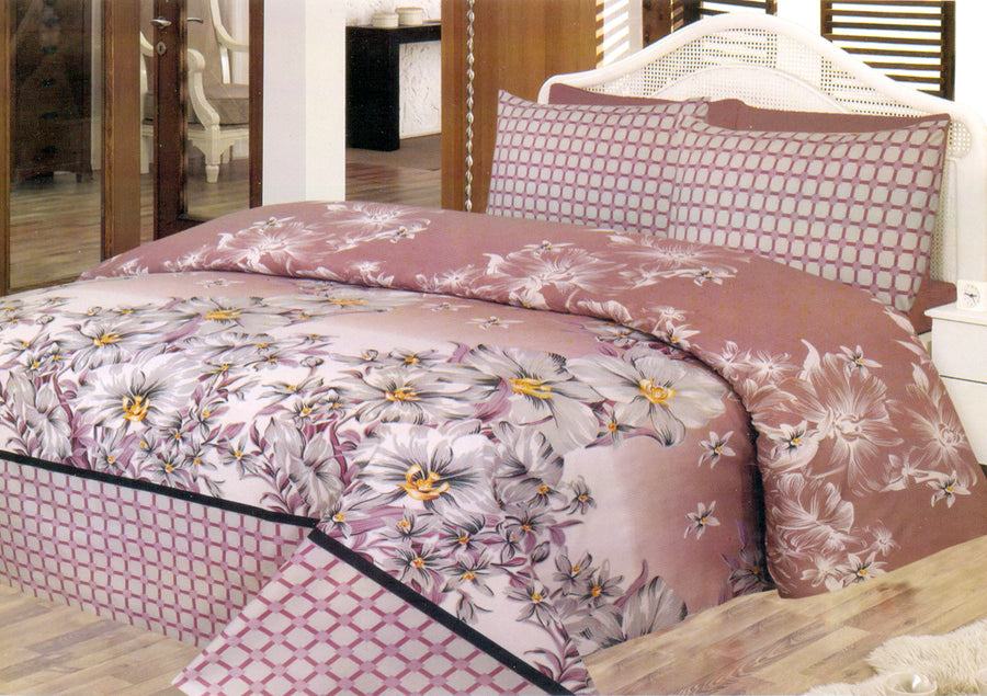 Daffodils Brown Floral Print Double Bed Sheet Set - Deeds.pk
