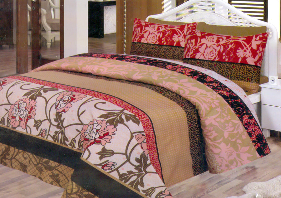 Daffodils Brown & Red Double Bed Sheet Set - Deeds.pk