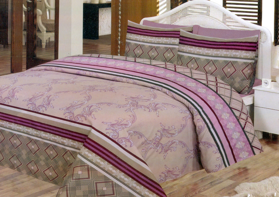 Daffodils Pink & Skin Double Bed Sheet Set - Deeds.pk