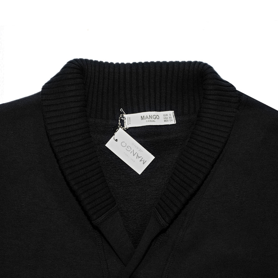 Elegant Black Camp Collar Cardigan