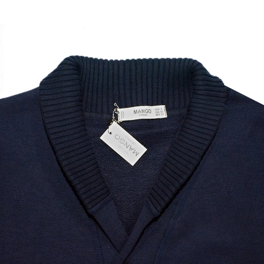 Elegant Navy Camp Collar Cardigan
