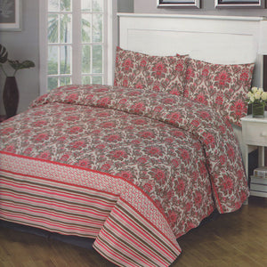 Cotton Concept Red Floral Double Bed Sheet Set - Deeds.pk