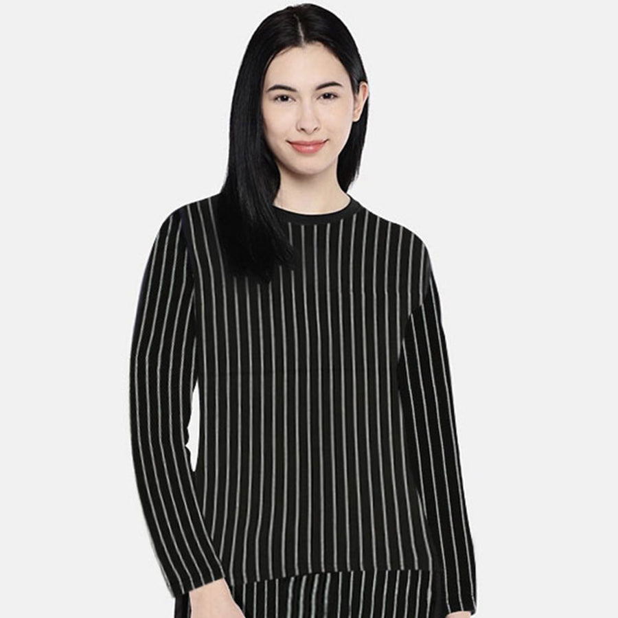 Funkys Printed Stripe WOMEN Full Sleeves T-SHIRT (with minor fault)