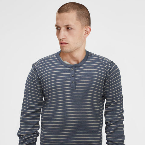 G.H.Bass & Co. Henley Blue Long Sleeves T-Shirt - Deeds.pk