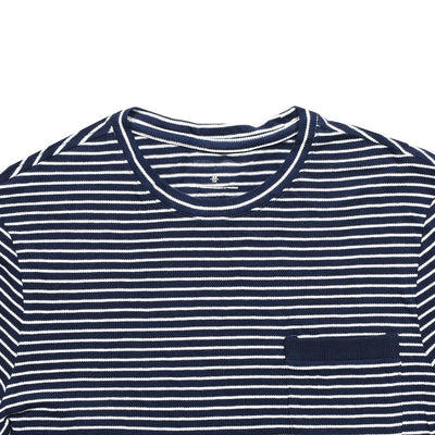 Parallel Stripes Cut label Pique Crew Neck T-Shirt