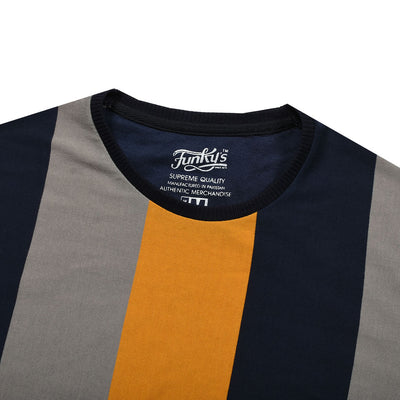 Funky's Roman Stripes Contrast Color Tee