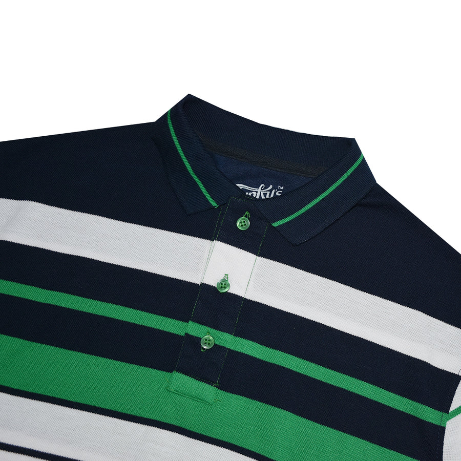 Funky's Breton stripes Designer Green Polo