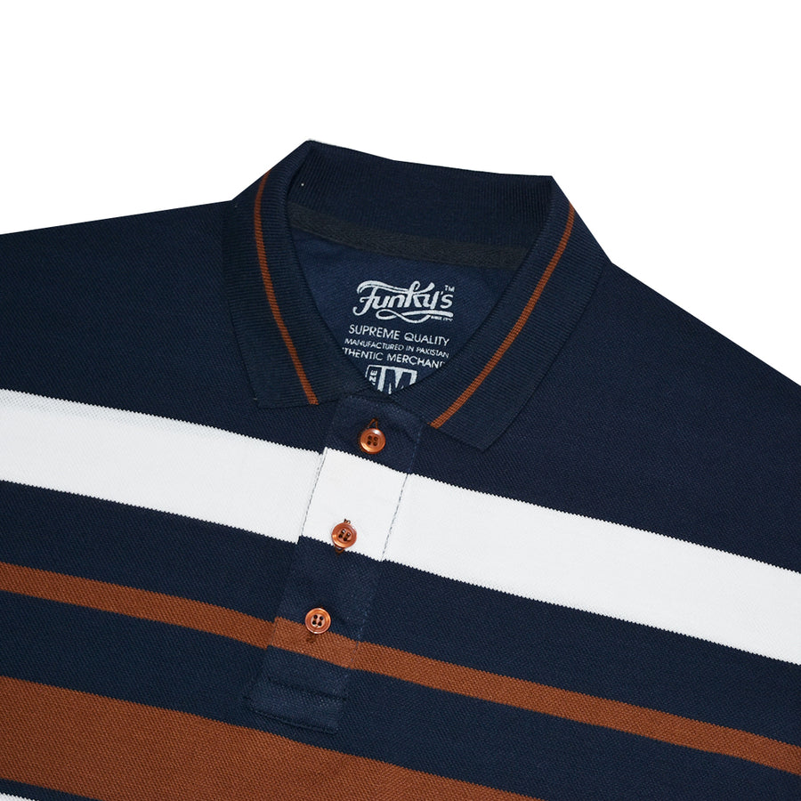 Funky's Breton stripes Designer Brown Polo