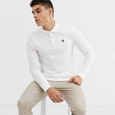 AE White Slim Fit Long Sleeves Polo Shirt - Deeds.pk