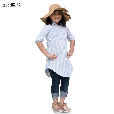 Baby Blue Vertical Stripes Top - Deeds.pk