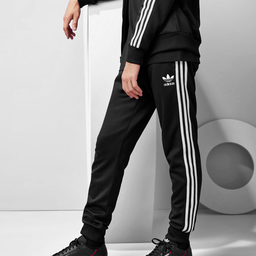 ADS Jet Black Side Striped Track Suit - Deeds.pk