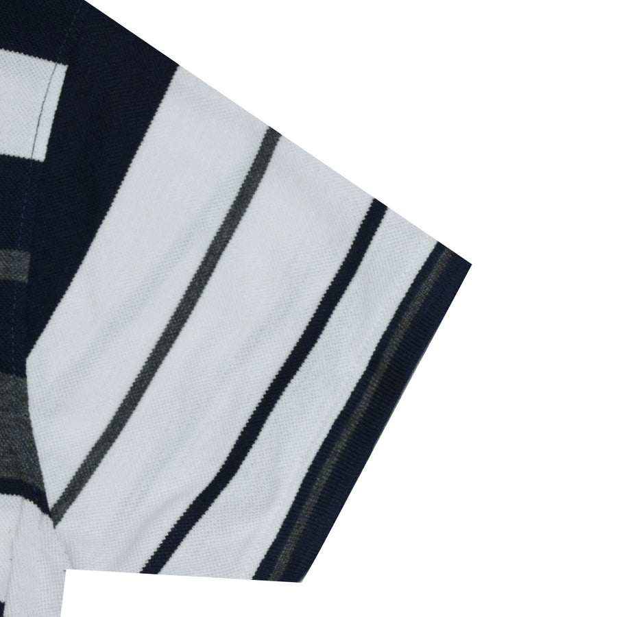 Funky's Breton stripes Designer Charcoal Polo