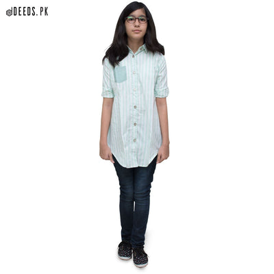 Green Vertical Stripe Top - Deeds.pk