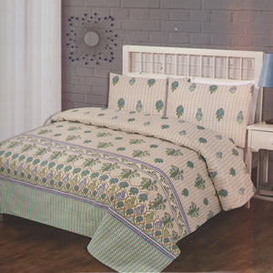Cotton Concept Off White and Green Double Bed Sheet Set