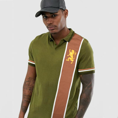 Premium Vertical Light Brown Panel Polo