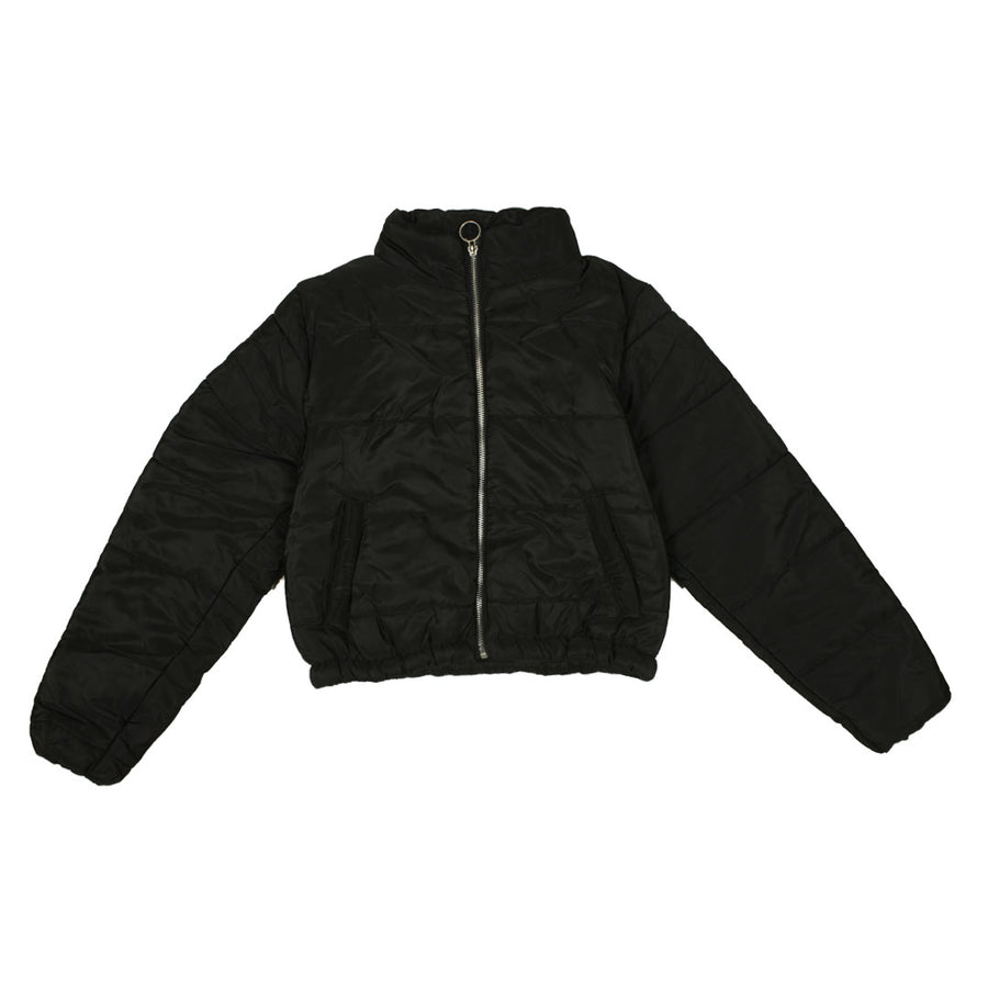 Women Puffer Black Crop Jacket
