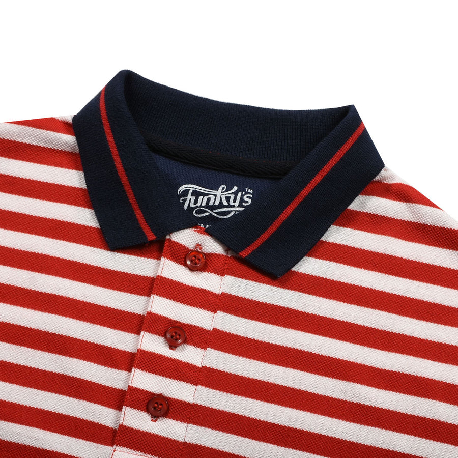 Funky's Defining Designer Red Stream Polo