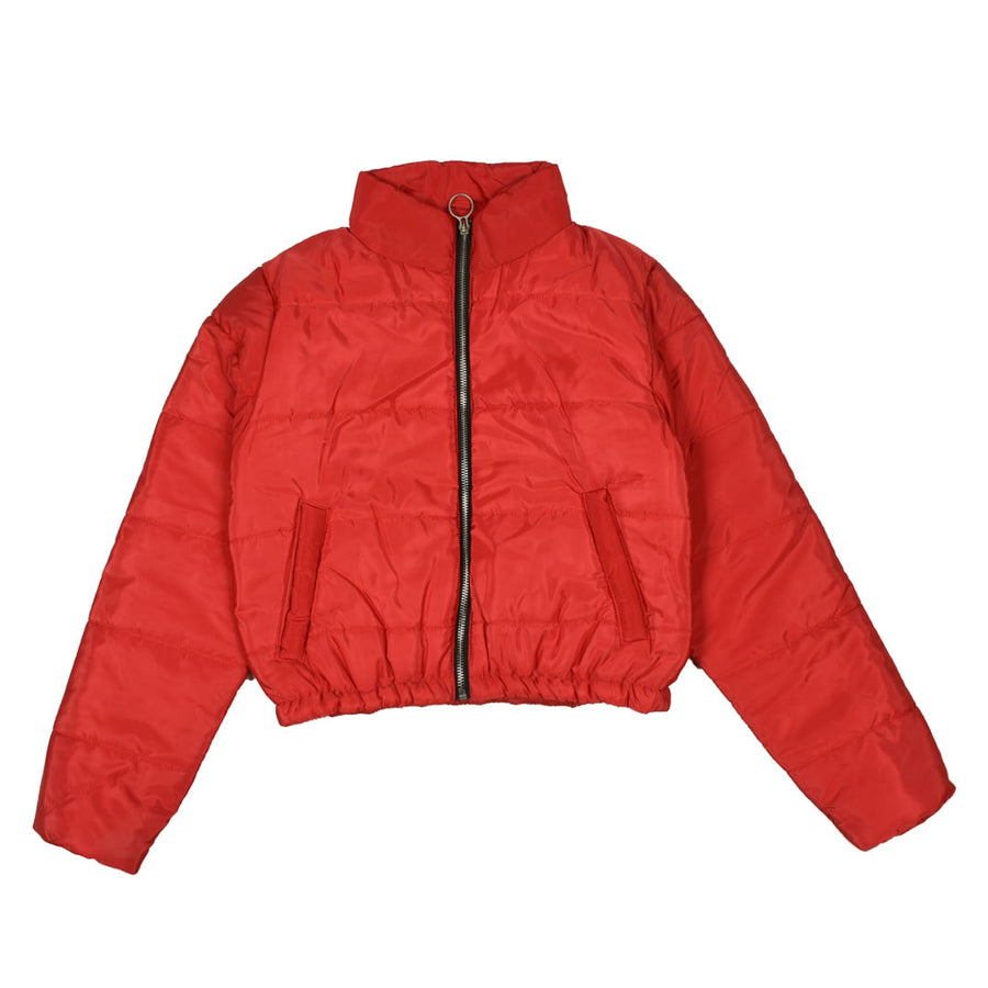 Women Puffer Red Crop Jacket