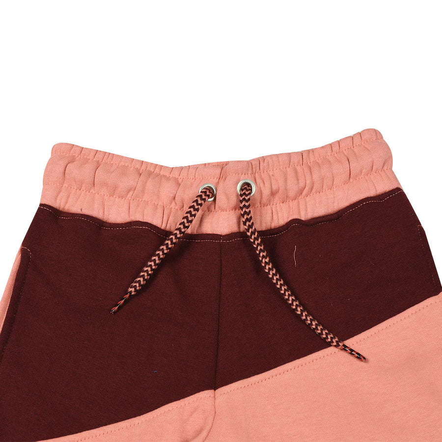 Boys Color Block Dark Maroon Trouser
