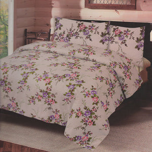 Cotton Concept Light Brown Floral Double Bed Sheet Set