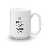 Bitcoin Keep Calm and Hodl On Mug