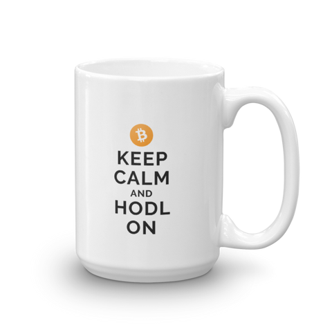 Bitcoin Keep Calm and Hodl On Big Mug