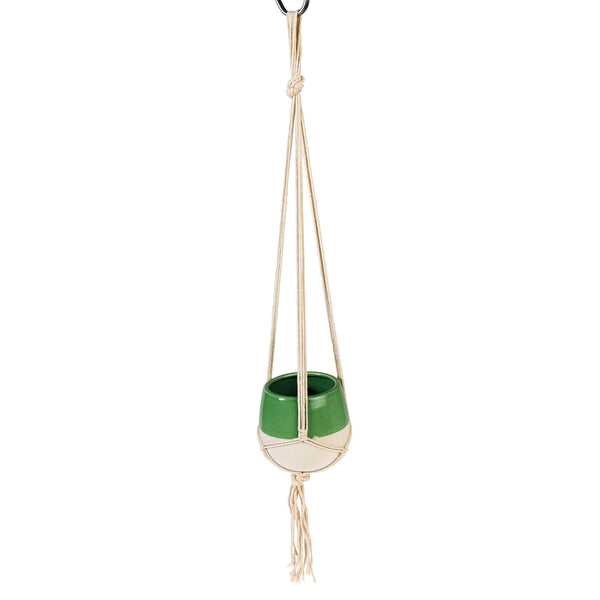 Small Sage Green Dipped Macrame Plant Pot - HOWKAPOW