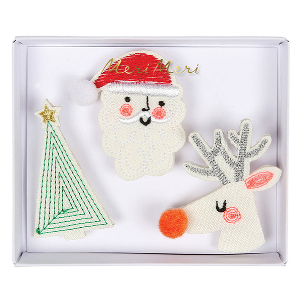 Embroidered Christmas Brooches - HOWKAPOW