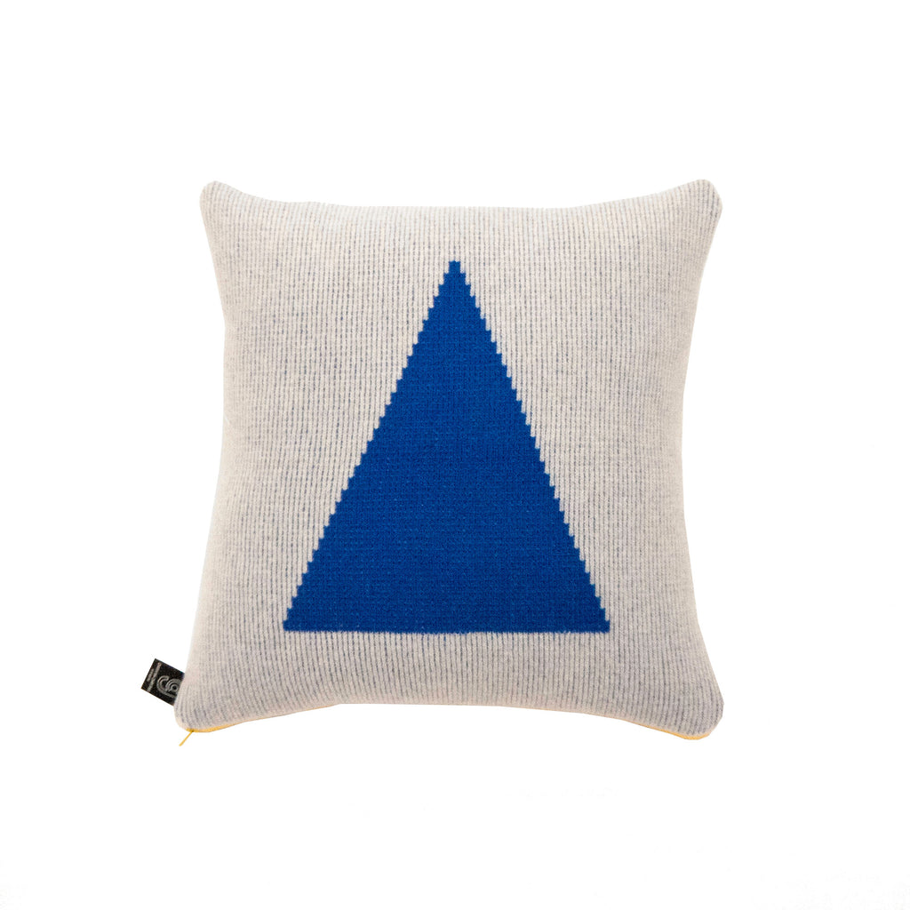 Blue Triangle Cushion with Yellow Zip - HOWKAPOW