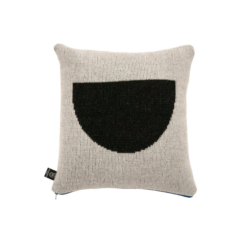 Black Semi Circle Cushion with Blue Zip - HOWKAPOW