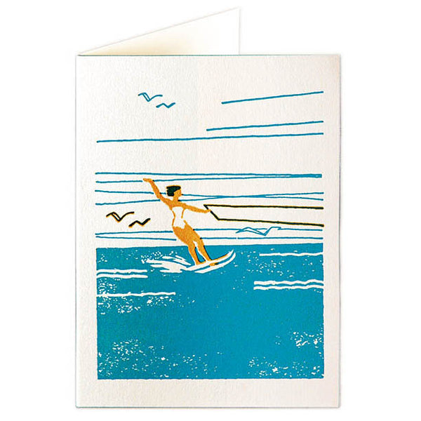 Waterskier Set Of 6 Letterpress Cards - HOWKAPOW