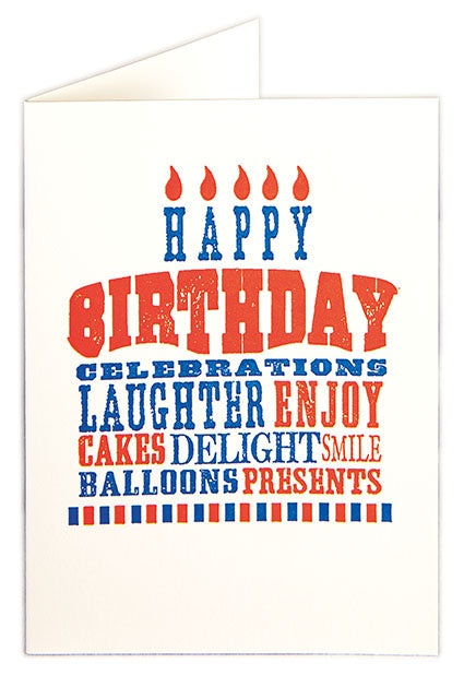 Birthday Cake Set Of 6 Letterpress Cards - HOWKAPOW