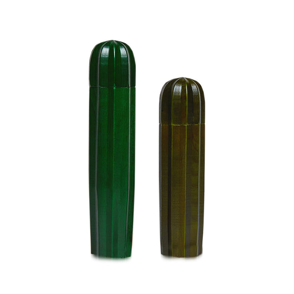 Cacti Green Wood Salt and Pepper Mills - HOWKAPOW